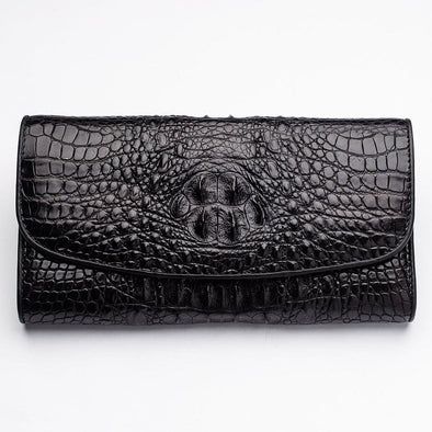 Black Genuine Crocodile Hornback Skin Womens Wallet