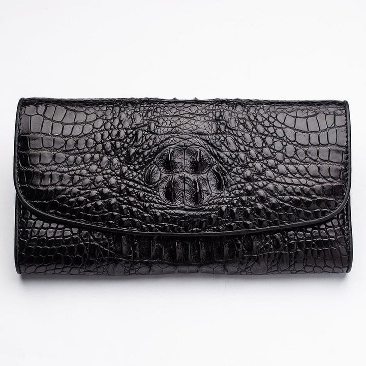 black crocodile leather women's wallet