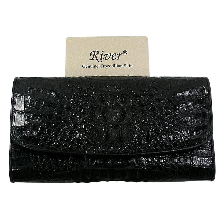 Black Genuine Crocodile Trifold Wallet