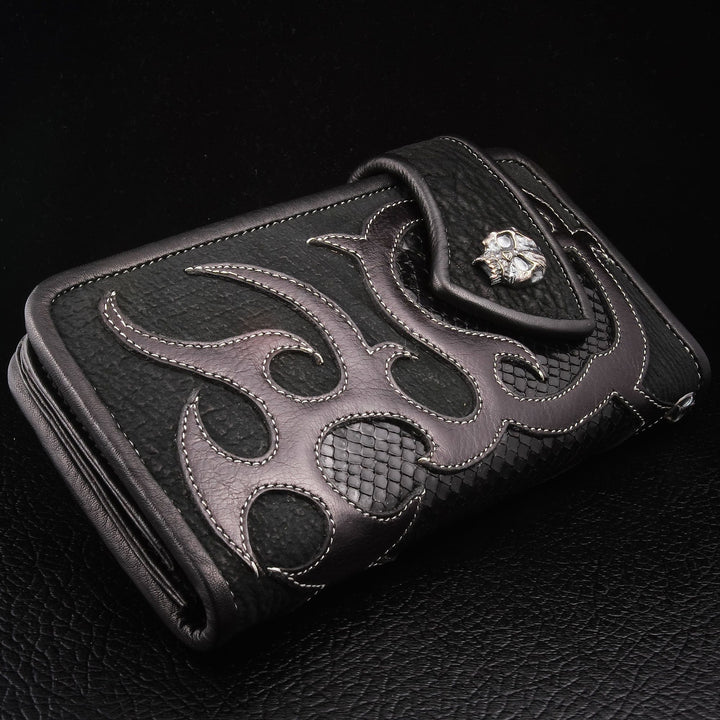 lizard skin leather biker wallet