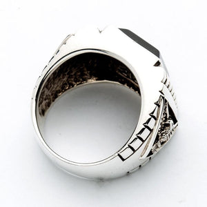 Sterling Silver Black Onyx Eagle Mens Ring