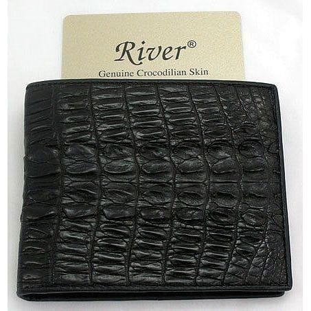 black crocodile tail leather wallet