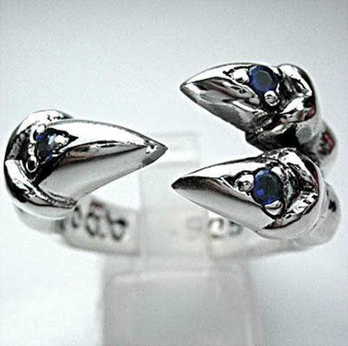 Sapphire Sterling Silver Gothic Claw Ring