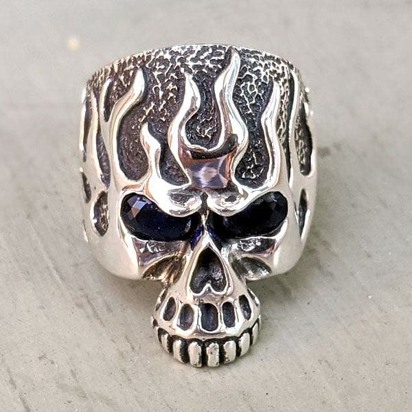 silver blue sapphire eyes flame skull ring