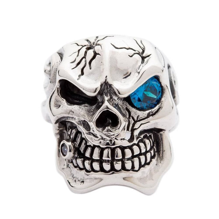 sterling silver blue eye skull ring