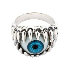 silver eyeball ring