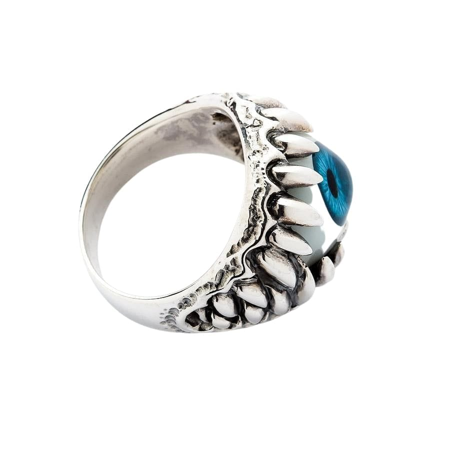 Blue Eyeball Silver Gothic Ring