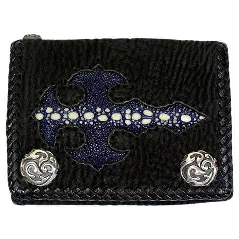 blue stingray skin gothic cross wallet