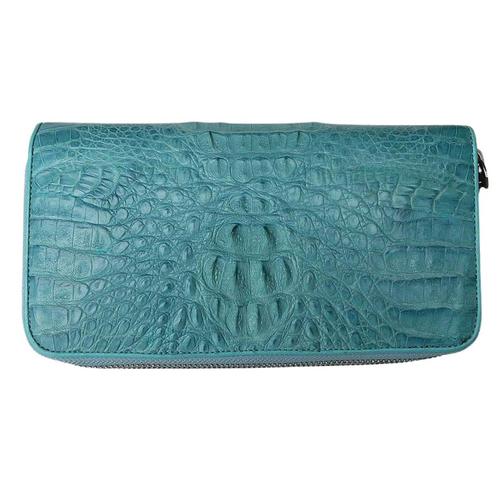 real blue-sky crocodile purse