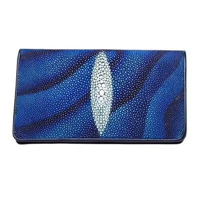 Blue Stingray Skin Leather Long Wallet-Bikerringshop