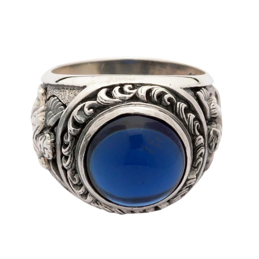 Sterling Silver Blue Stone Cupid Love Ring