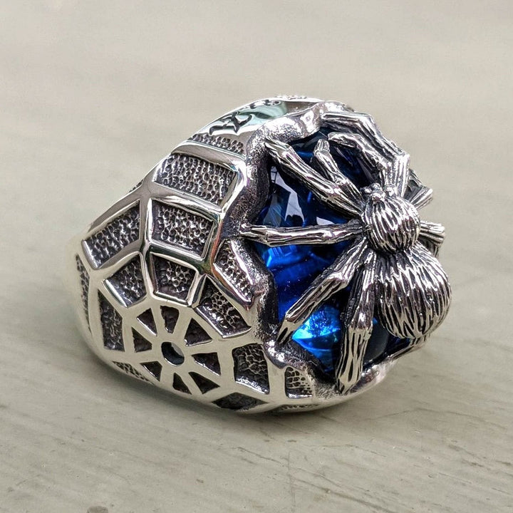 sterling silver blue stone spider ring
