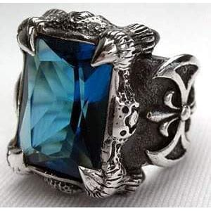 men's blue topaz ring
