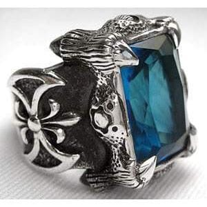 Blue Topaz Sterling Silver Dragon Claw Mens Ring