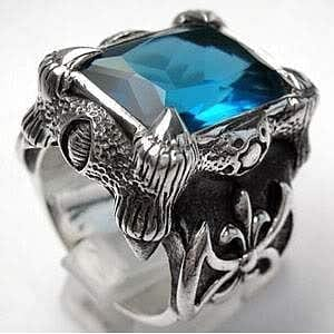 blue topaz claw men's ring