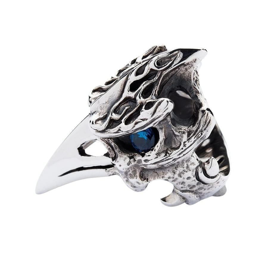 Blue Topaz Eyes Dinosaur Hornbill Head Biker Ring