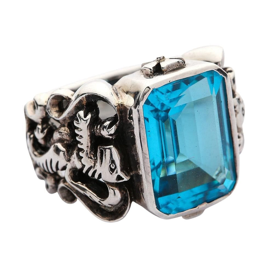 Blue Topaz Scottish Lion Rampant Mens Ring