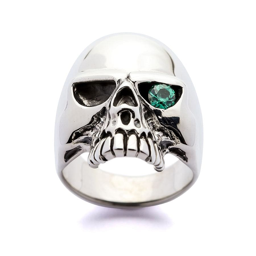 Blue Topaz Sterling Silver Skull Ring