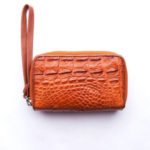 portefeuille en croco alligator marron