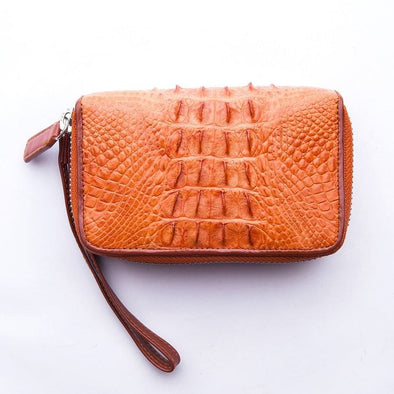Brown Crocodile Tail Skin Wallets-Bikerringshop
