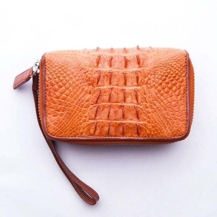 brown crocodile zipper wallet