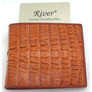 light brown genuine crocodile tail wallet