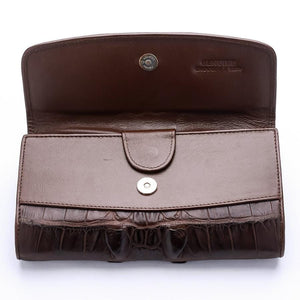 Brown Genuine Crocodile Big Tail Skin Womens Wallet