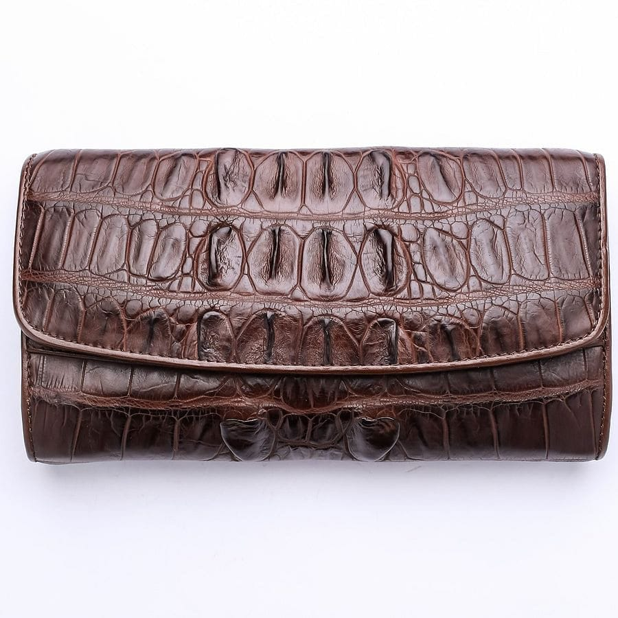 alligator croc backbone women's wallet