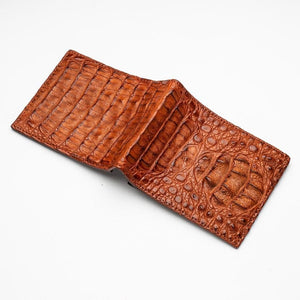 brown crocodile leather men's wallet