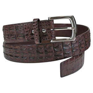 dark brown crocodile skin belt
