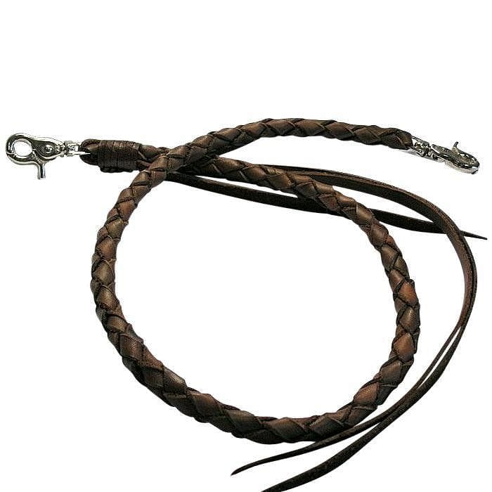 dark brown leather braided wallet chain