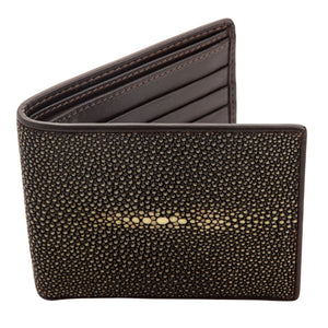 brown polished stingray skin wallet