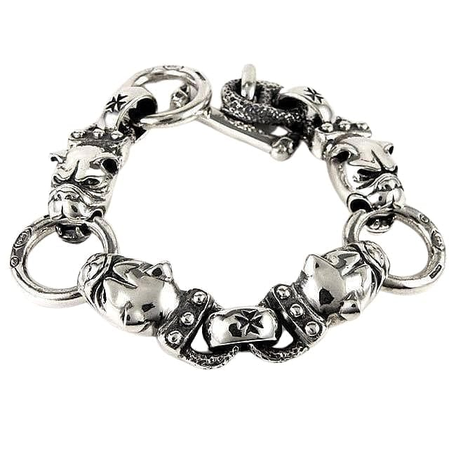bulldog sterling silver men's bracelet