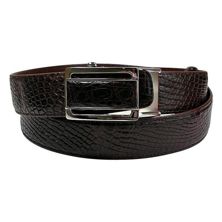 real burgundy crocodile leather belt