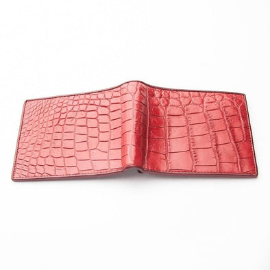 Burgundy Red Crocodile Stomach Skin Wallet
