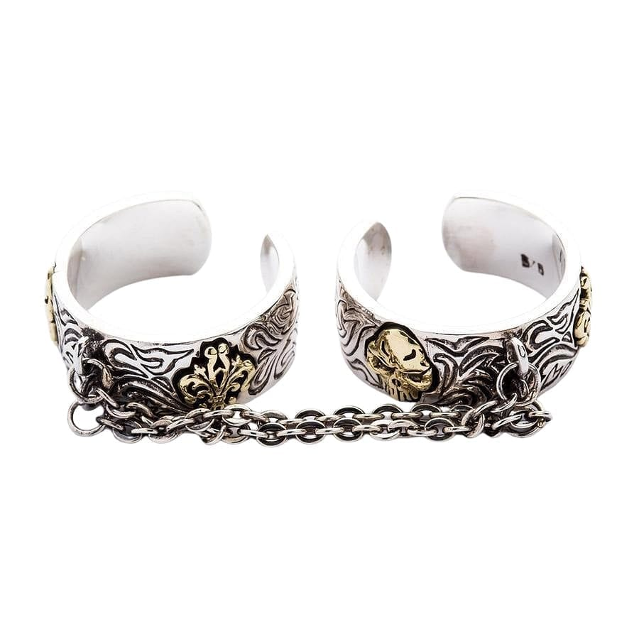 Chained Double Gothic Punk Ring