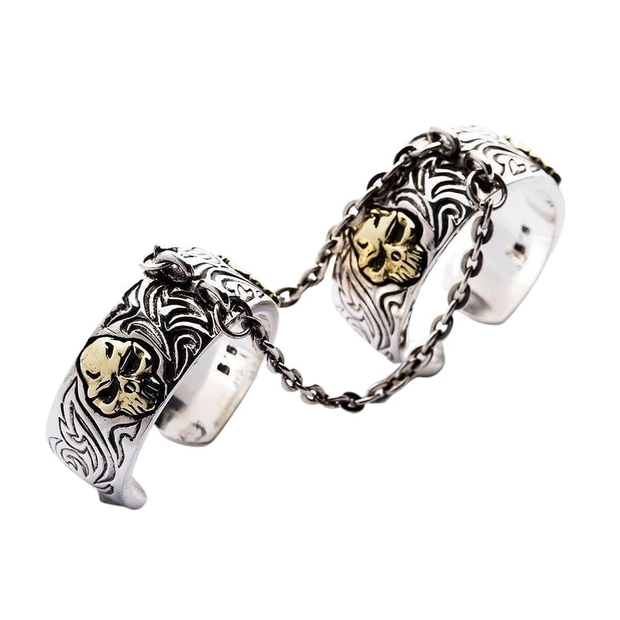 silver chained punk ring