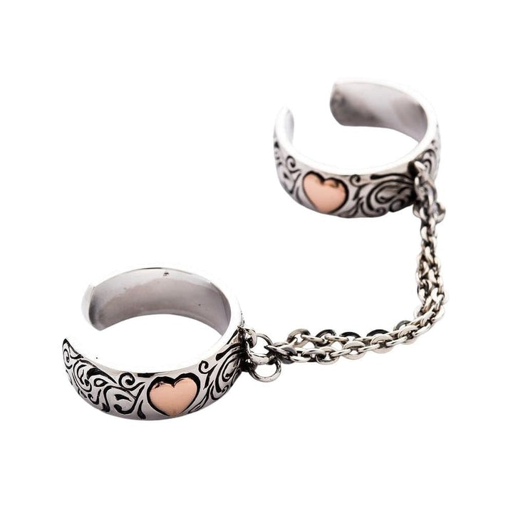 heart chained ring