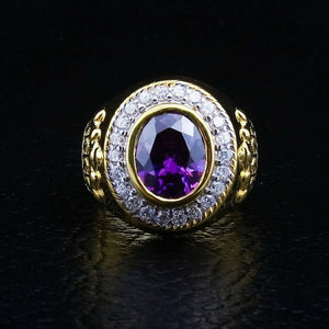yellow gold crown bishop ring