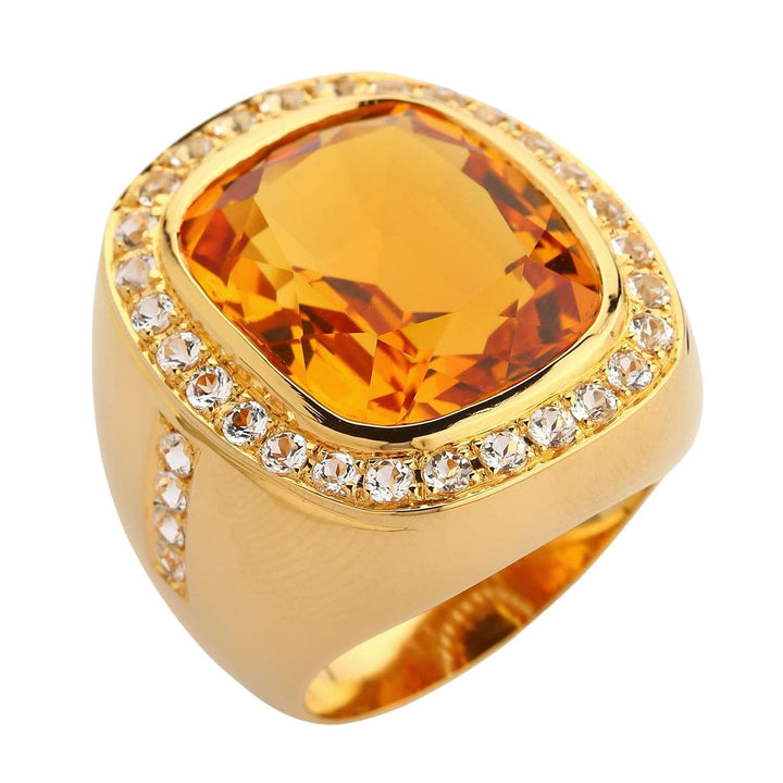 Huge Yellow Gold Mens Citrin Ring
