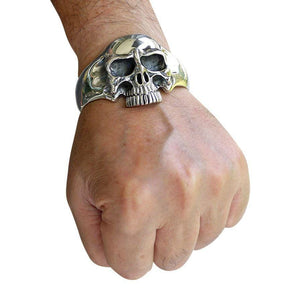 malaking sterling silver skull cuff