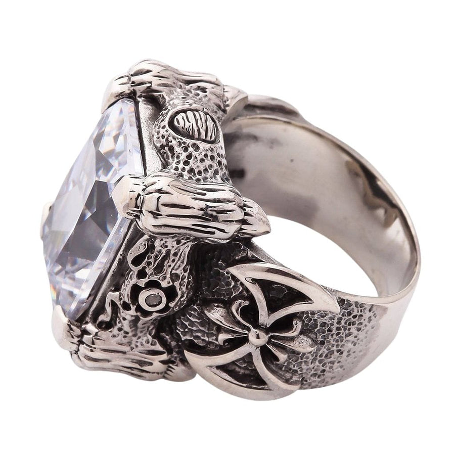 Silver Diamond Dragon Claw Ring
