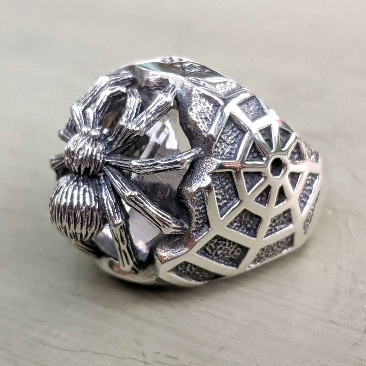 sterling silver clear stone spider ring