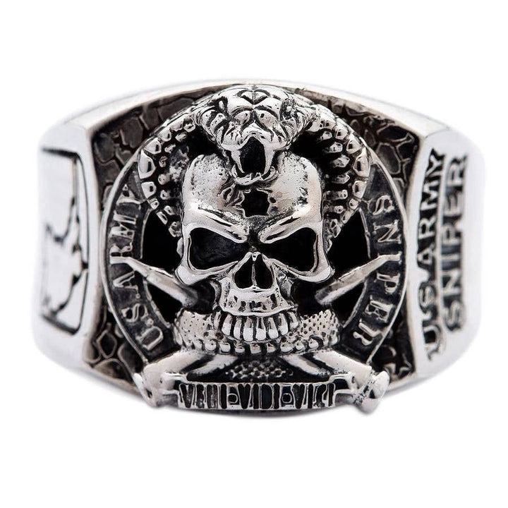 sterling 925 silver cobra skull ring