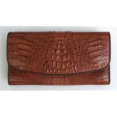 Cognac Brown Genuine Crocodile Trifold Wallet