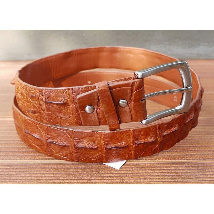light brown alligator skin belt