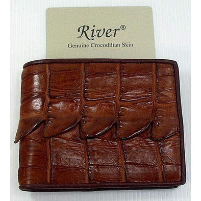 Cognac Crocodile Tail Skin Mens Wallet