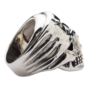 Sterling Silver Cross Bandana Biker Skull Ring