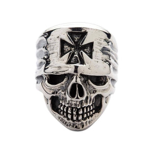 biker iron cross Bandana skull ring
