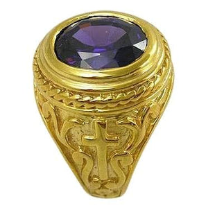 handmade Amethyst bishop ring
